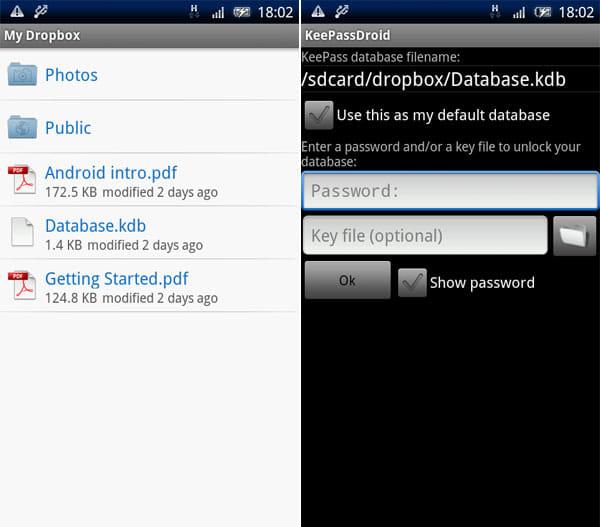 KeePassDroid:DropBoxストレージ内に『KeePass』のデータベースファイルを作成(左) 基本となるパスワードとファイルを選択(右)