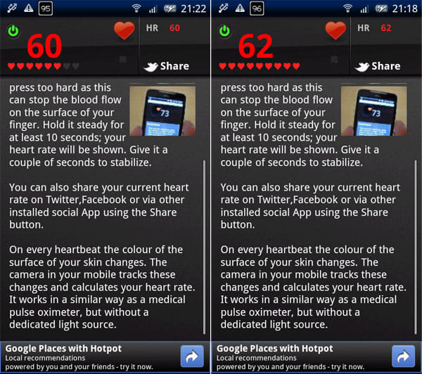 Instant Heart Rate:カメラに指をあて暫く待つと、赤文字になり、ハートが埋まっていく