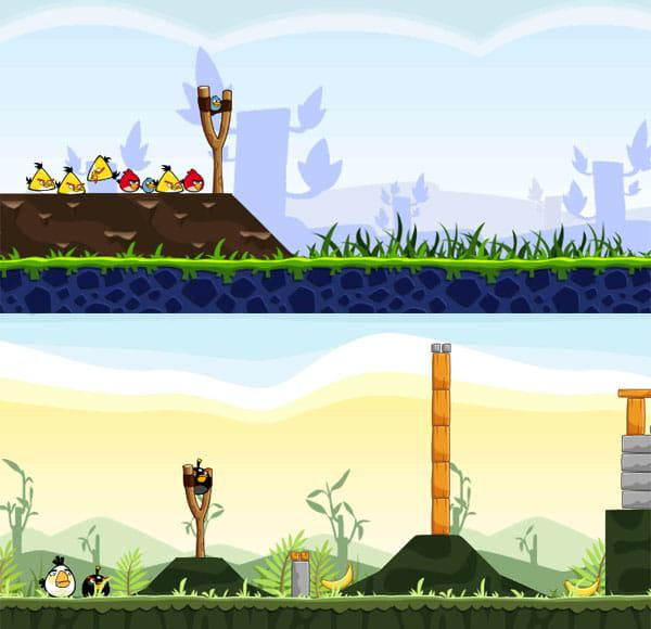 Angry Birds:スタート位置に並ぶ鳥。体当たりさせる順番の変更はできないので、各鳥の特徴を考えながら、障害物を崩していこう
