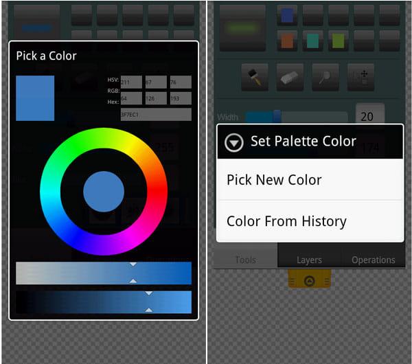 Canvas Pro:色の選択画面(左)登録ロングタップ画面(右)