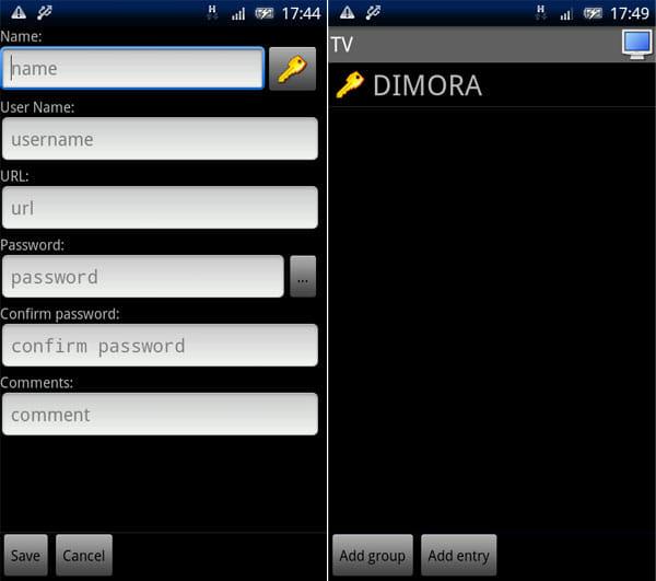 KeePassDroid:入力フォームを登録し終わると(左) 新規ID管理項目が作成できる(右)