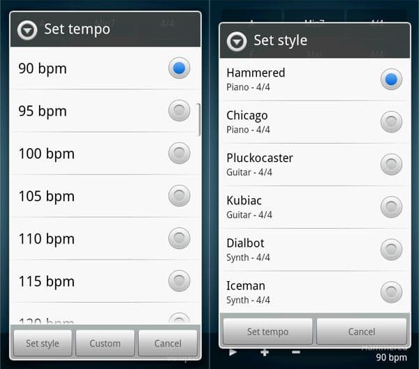 ChordbotLite:テンポ(左)や音色(右)の設定も可能