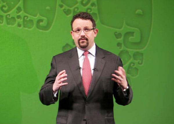 発表会で登壇したEvernote社のフィル・リービンCEO