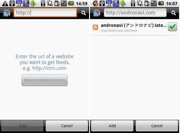 gReader (Google Reader | RSS):フィードの追加もできます