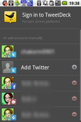 TweetDeck (Twitter, Facebook):SNSアカウント編集画面