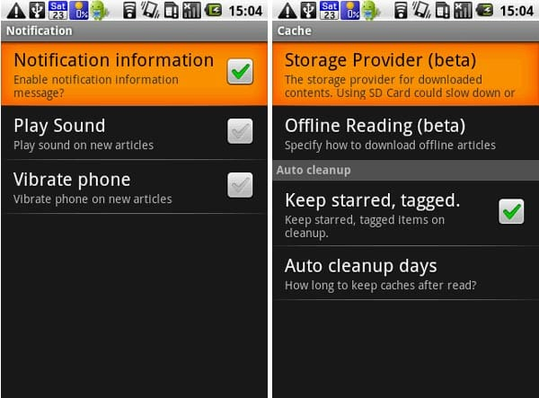 gReader (Google Reader | RSS):通知設定(左)キャッシュ設定(右)