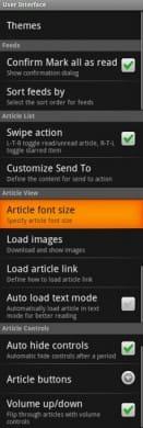 gReader (Google Reader | RSS):UI設定