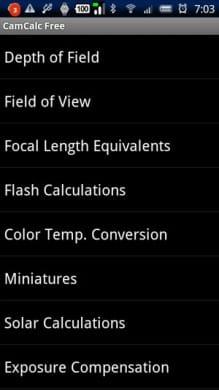 CamCalc Free:フリーのカメラ用アシスタントツールです。ビデオカメラを使う時にも役に立つ機能が搭載されています