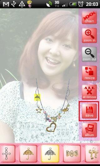 Try On Accessories:画面右、下のバーは縦横スライド可能、作成したアクセサリーはsaveしよう