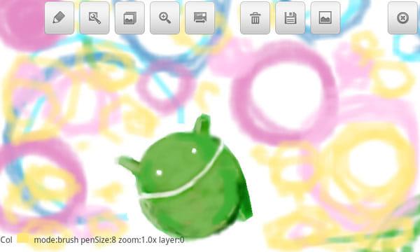 Bluetoothお絵かきチャット:ブラシを多用して描いたアンディ。Twitpicに投稿できる