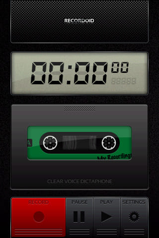 Recordoid Dictaphone Lite:「RECORD」タップで録音開始