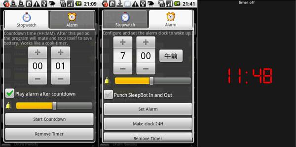 Relax and Sleep:ストップウォッチ設定画面(左)アラーム設定画面(中央)時計表示画面(右)