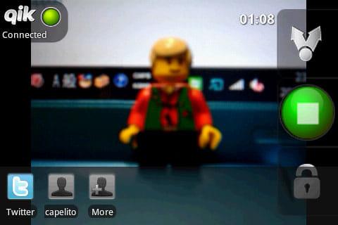 Qik Video:右下の錠ボタンからプライベート設定が可能