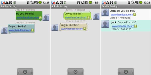 Handcent SMS:Handcent仕様選択(左)iPhone仕様選択(中)Android仕様選択(右)