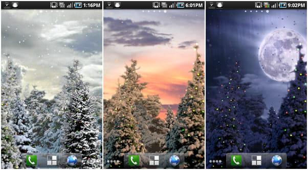 Snowfall Full Live Wallpaper:時間帯によって、背景の雰囲気も変化する