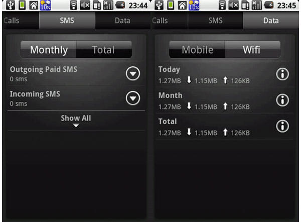 DroidStats:SMS使用量は受信、送信と分けて見られる(左)Data通信量は3G通信とWi-Fiで通信量表示を切り替え可能(右)