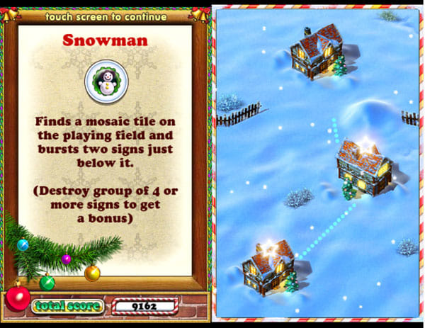 Jewellust Xmas:新しいアイテム「Snowman」(左)ステージがクリスマス仕様(右)