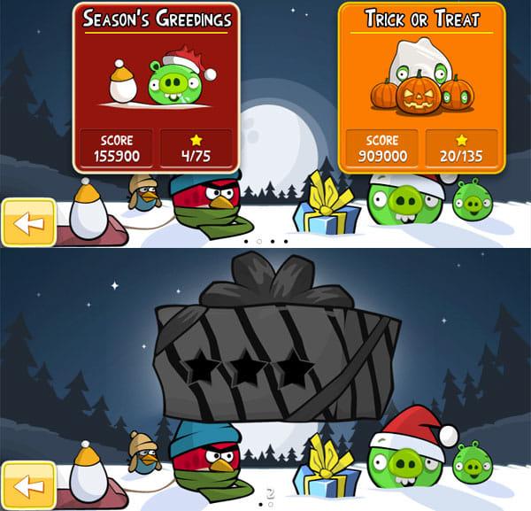 Angry Birds Seasons:「SEASONS`S GREEDINGS」がクリスマスステージ。「TRICK OR TREAT」がハロウィーンステージ(上)12月25日までに全ステージをクリアすれば開けられる?プレゼント(下)