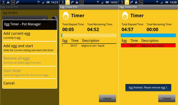 Egg Timer Pro:「Add egg and start」をタップ(左)カウントダウン開始(中)時間が来るとアラームが鳴る(右)