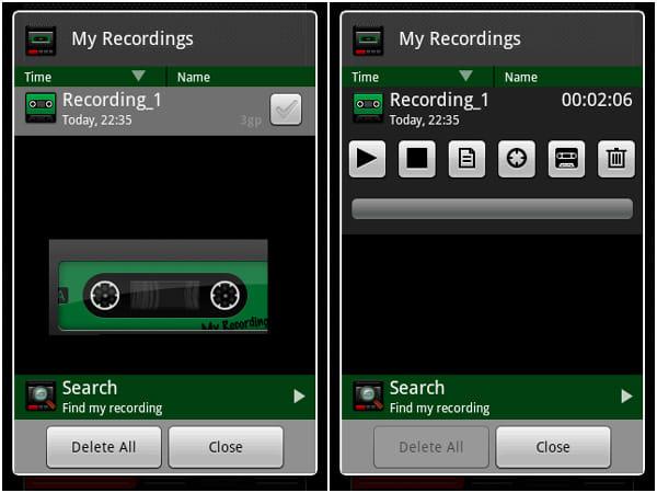 Recordoid Dictaphone Lite:サーチメニューから録音ファイルの検索が可能