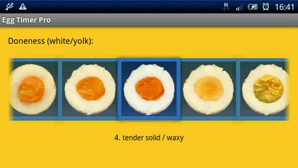 Egg Timer Pro:横スクロールさせて、好みの固さを確認