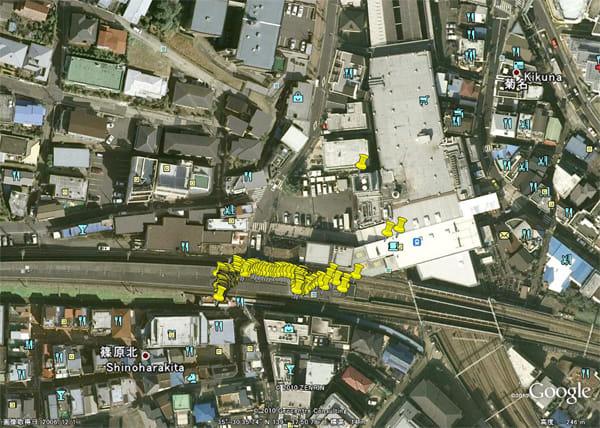 GPSスピードグラフPLUS:Google Earth上にKMLデータをインポートすると、自分の移動経路が表示される