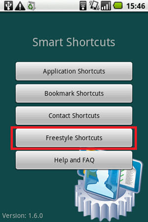 "Smart Shortcuts:ホーム画面。""Freestyle Shortcuts""を選択"