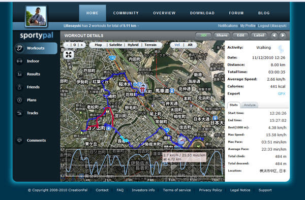 SportyPal Pro:PC上の軌跡画面