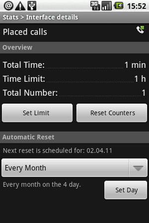 Stats Free:Placed call(発信)詳細画面。リミットを設定すれば、使用上限を超えた場合にSMSが通知される