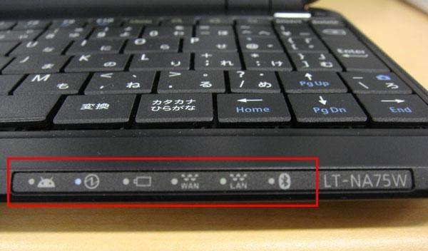 通知ランプ。左からメッセージ、電源、バッテリー充電、WAN、無線LAN、Bluetooth