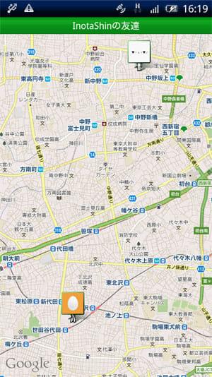 ナカマップ:GPS位置情報をもとにマップ上に仲間の位置を表示