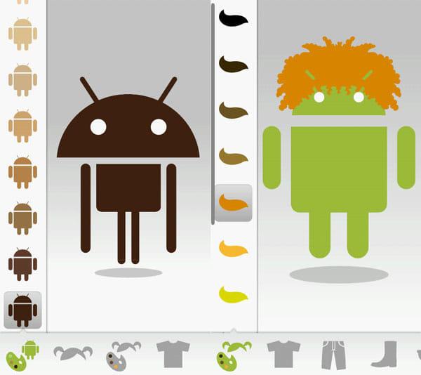 Androidify: 任意の部位をフリックでサイズが変わる(左)髪型・髪色を設定。組み合わせは無限(右)