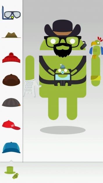 Androidify:衣装・アクセサリーは何種類も装着可能