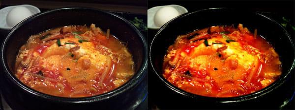 めしカメラ:標準のカメラ(左)と、めしカメラ(右)で撮影したスンドゥブチゲ。赤色が強調されている