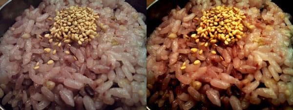 めしカメラ:標準のカメラ(左)と、めしカメラ右)で撮影した雑穀米。金胡麻と黒米の赤みが強調されている
