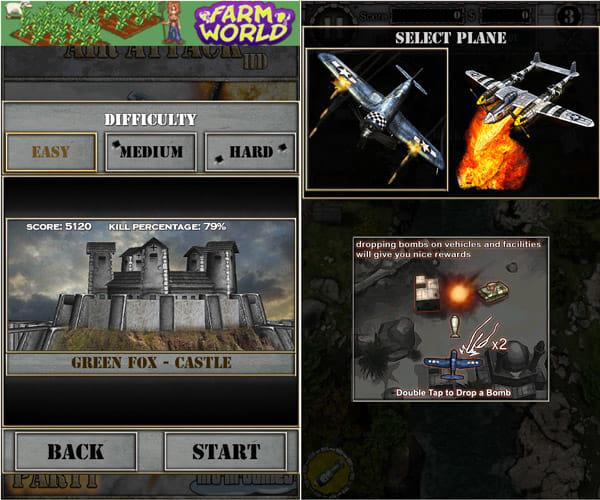 AirAttack HD Part1:難易度選択画面(左)自機選択画面(右)