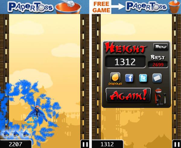 NinJump:3回連続で同じ敵を倒すとボーナスジャンプ(左)スコア画面(右)