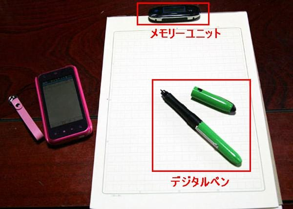 airpenNOTE for Android:利用中の様子。airpenPocketはメモリーユニットとデジタルペンのセット