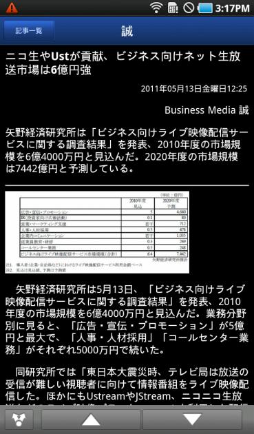Biz誠 for Android:タイトルをタップすると、詳細を読める