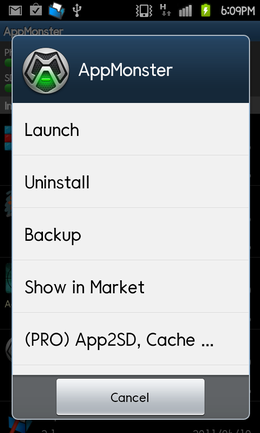 AppMonster:アプリの起動やアンインストールに加え、SDカードへのバックアップも可能