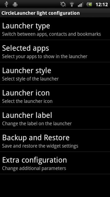 CircleLauncher light:設定画面