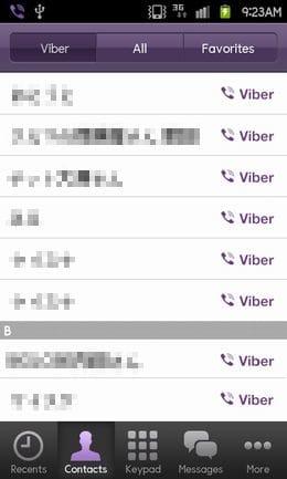 Viber:メイン画面