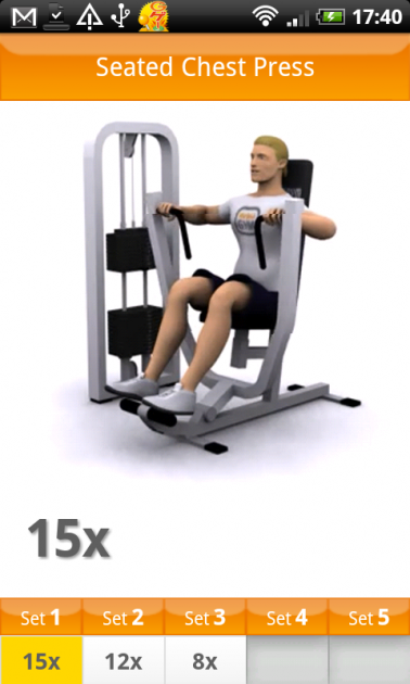 VirtuaGym Fitness Home & Gym:ジムでの運動(Gym Workout)画面