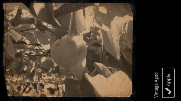 Little Photo:「Vintage paper」セピア色に変換されるだけのアプリはよくあるが、汚れなどまでエフェクトされるのは珍しい。非常に雰囲気が出ている