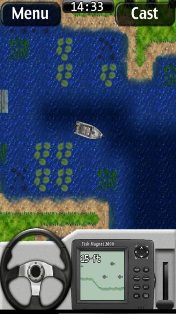 i Fishing:湖を決めたらボートで出発