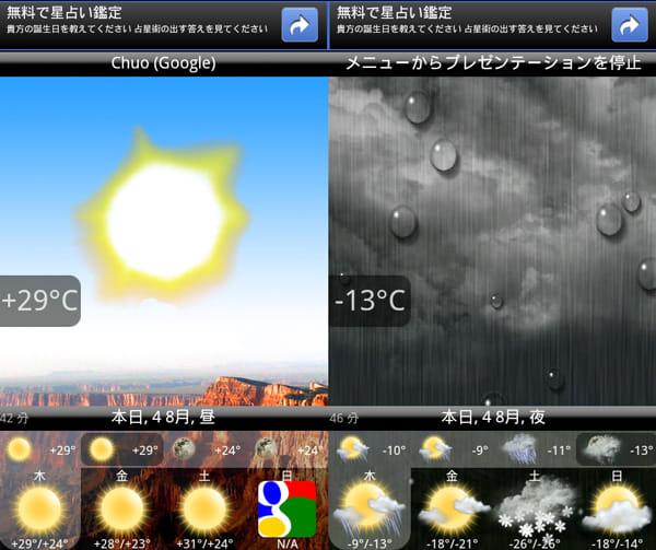 Animated Weather Widget, Clock:天気のアニメーション表示が特徴的。アニメーションを見れば、一目で天気の状態が分かる