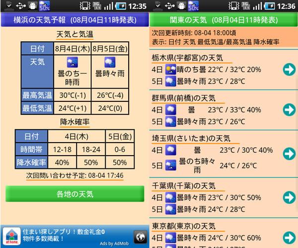 降水確率ステータスバー:天気及び気温、降水確率を表示(左) 各地の天気情報一覧(右)