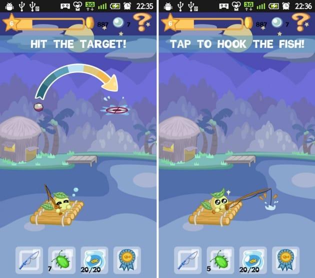 Aqua Pets:浮きが円の中心に入ったらタップ!バイブが鳴った瞬間が釣り上げるチャンスです