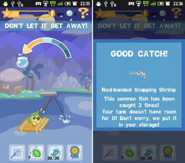 Aqua Pets:無事に釣れると、どんな魚が釣れたかを教えてくれます
