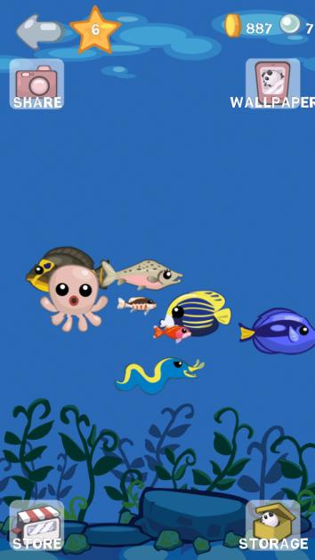 Aqua Pets:画面右上にある「WALLPAPER」でライブ壁紙の設定をします。自分だけの癒し空間を作ってみてください